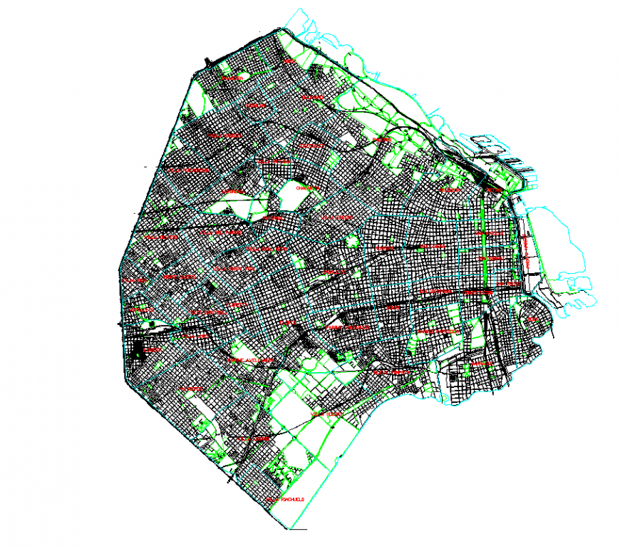 Map with city area detail with urban design dwg file