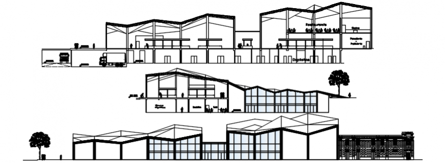 Market and shopping center all sided elevation and section drawing details dwg file