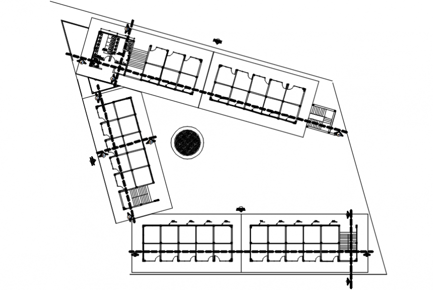 Market general plan and sanitary services details dwg file