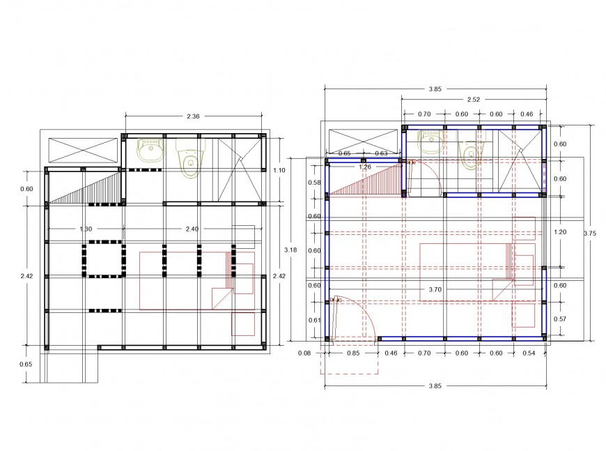 Master bed room working plan autocad file