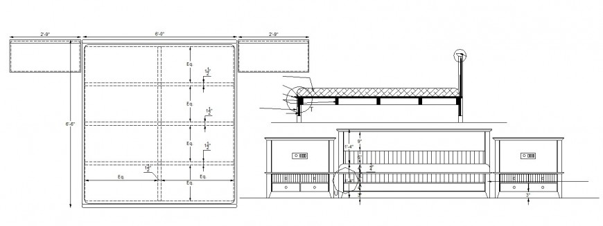 Master bed section, plan and carpentry cad drawing details dwg file
