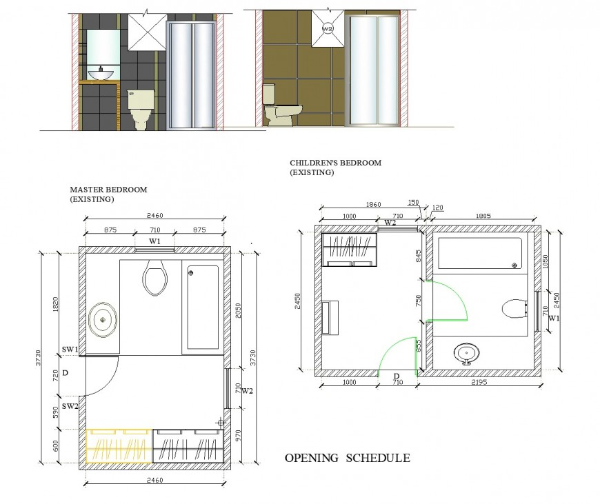 Master bedroom and children bedroom existing detail dwg file