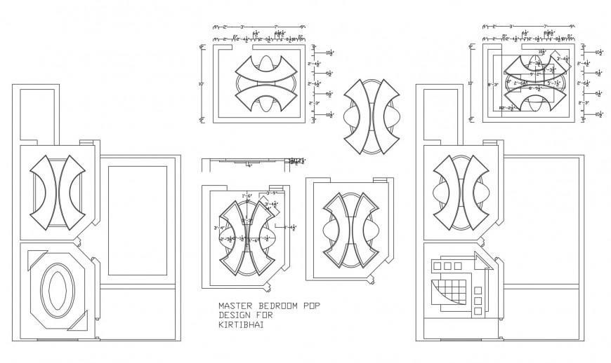 Master bedroom ceiling and pop design cad drawing details dwg file