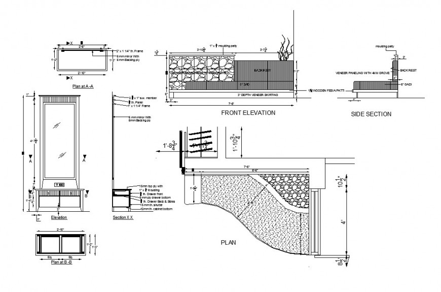 Master bedroom furniture cad drawing details dwg file