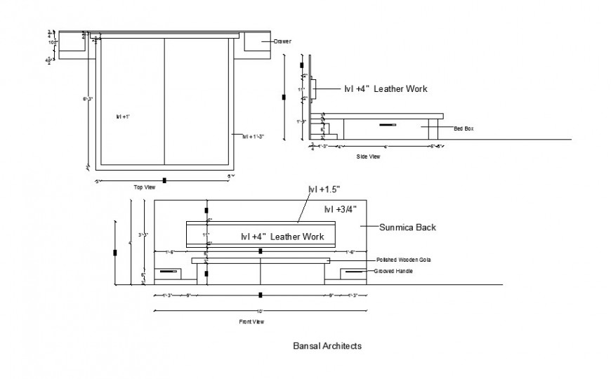 Mater bed elevation, section, plan and carpentry cad drawing details dwg file