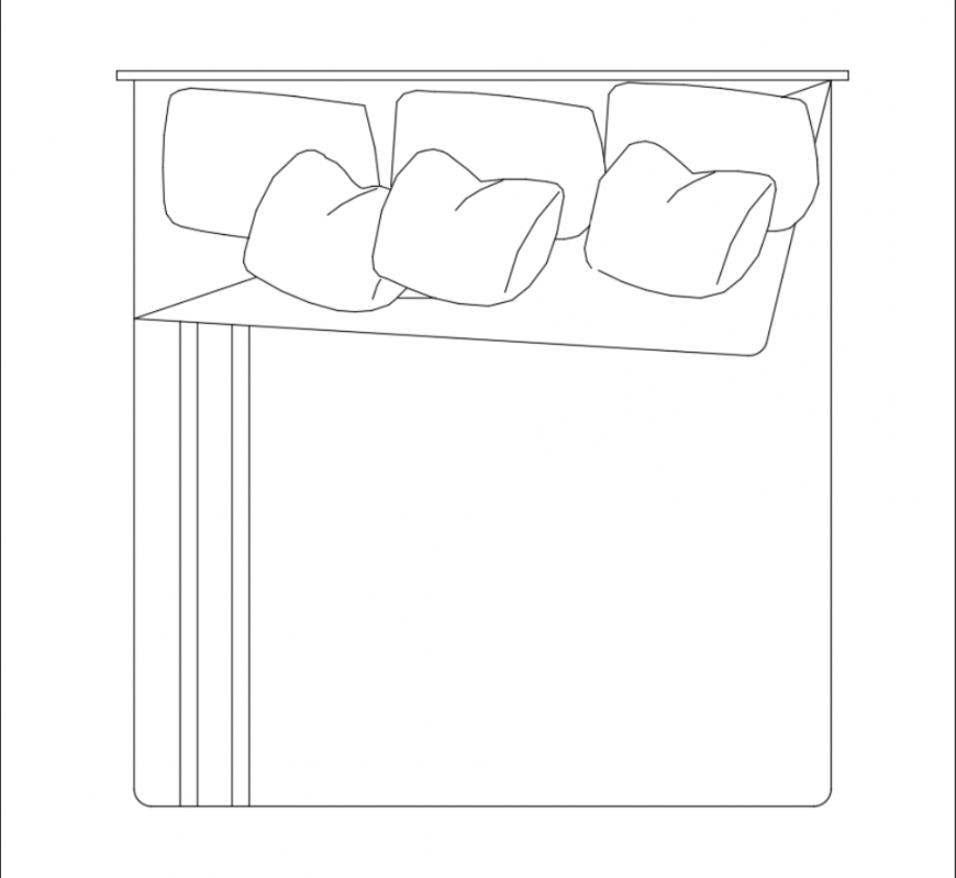 Mater bed top view cad block design dwg file