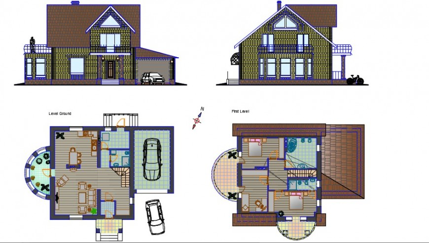 Material finish elevation of bungalow with layout plan dwg file