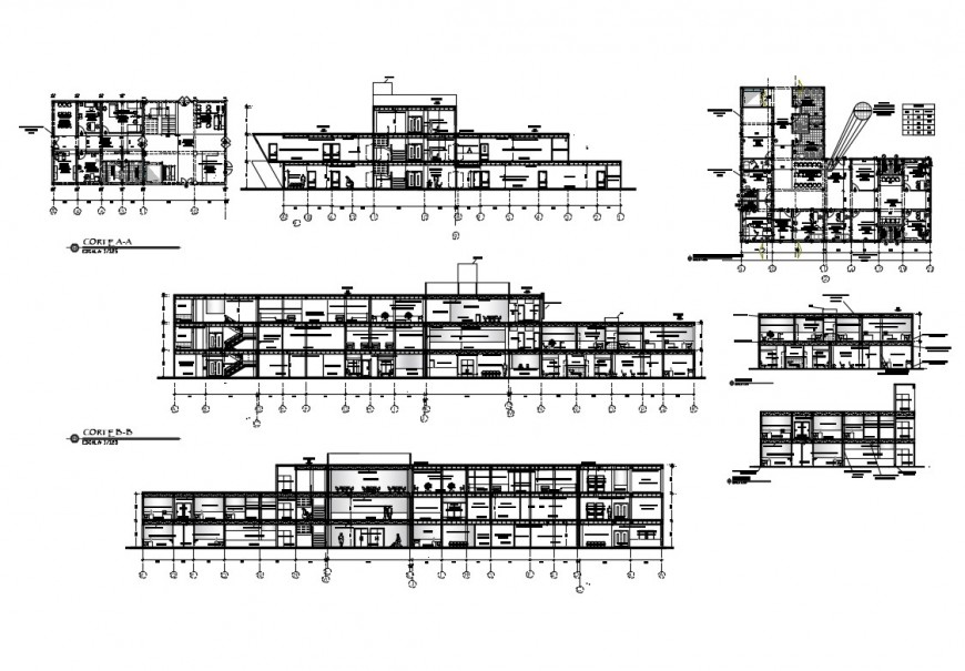 Maternal and child care health center all sided section cad drawing details dwg file
