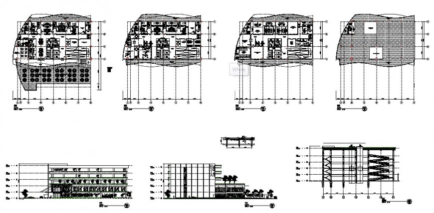 Maternity and child care hospital elevation, section and floor plan details dwg file