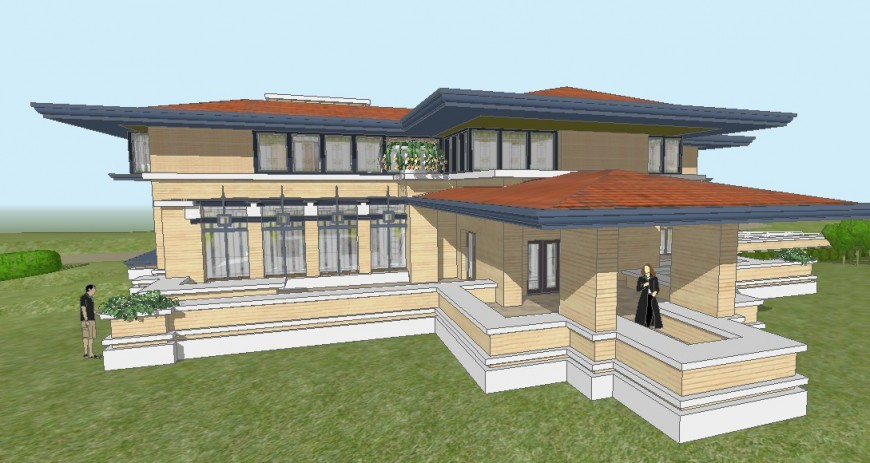 Mayer beautiful 3d residential house model cad drawing details skp file