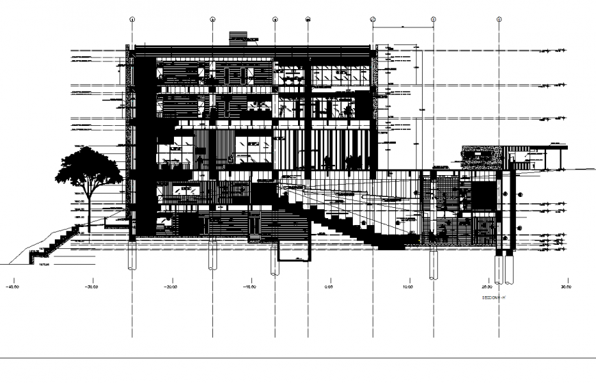 Media library section plan detail dwg file