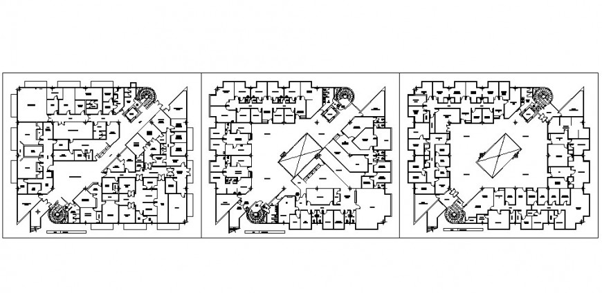 Medical ambulatory ground, first and second floor plan cad drawing details dwg file