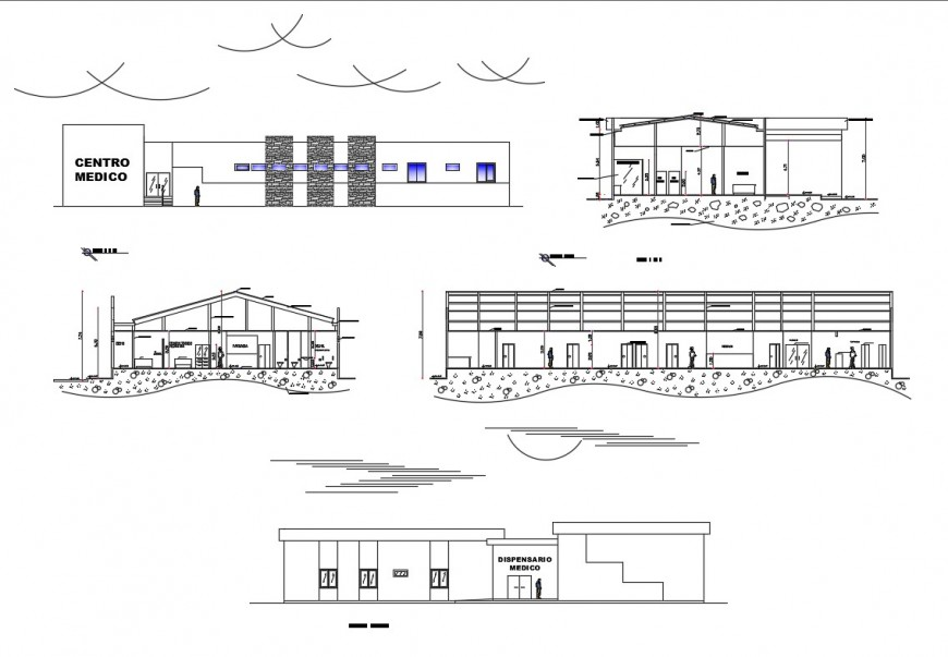 Medical center all sided elevation and sectional details dwg file