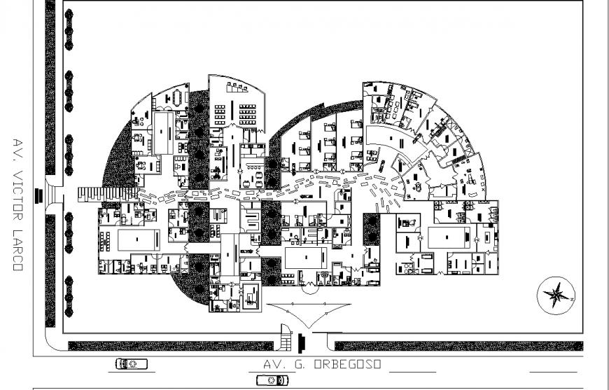 Medical center site plan drawing in dwg file.