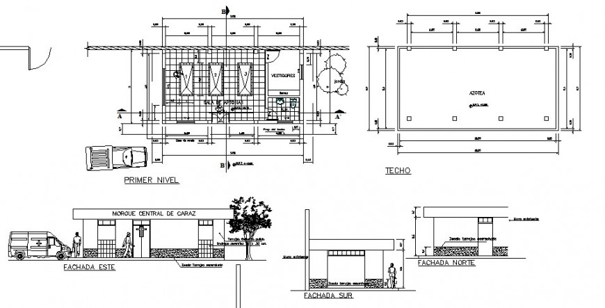 Medical clinic all sided elevation, section and plan cad drawing details dwg file