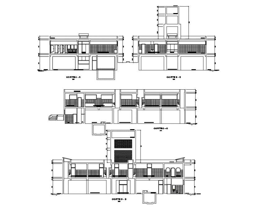 Medical clinic all sided sections cad drawing details dwg file