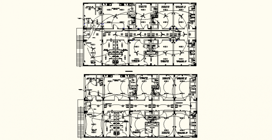 Medical clinic electrical layout plan in dwg AutoCAD file.