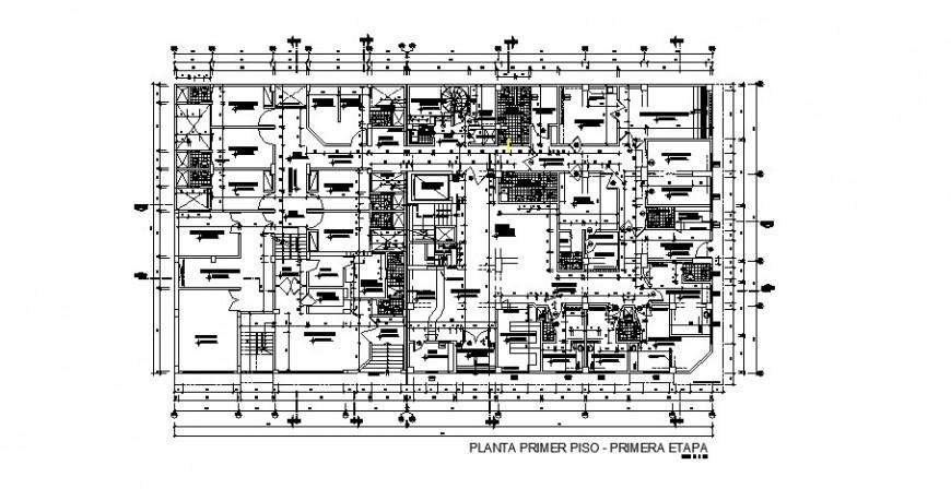 Medical college ground floor distribution plan cad drawing details dwg file