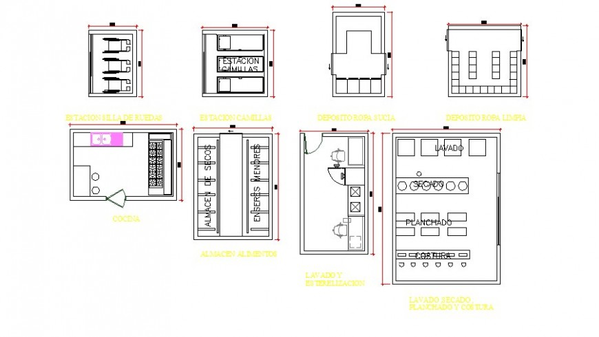 Medical departments and furniture blocks cad drawing details dwg file