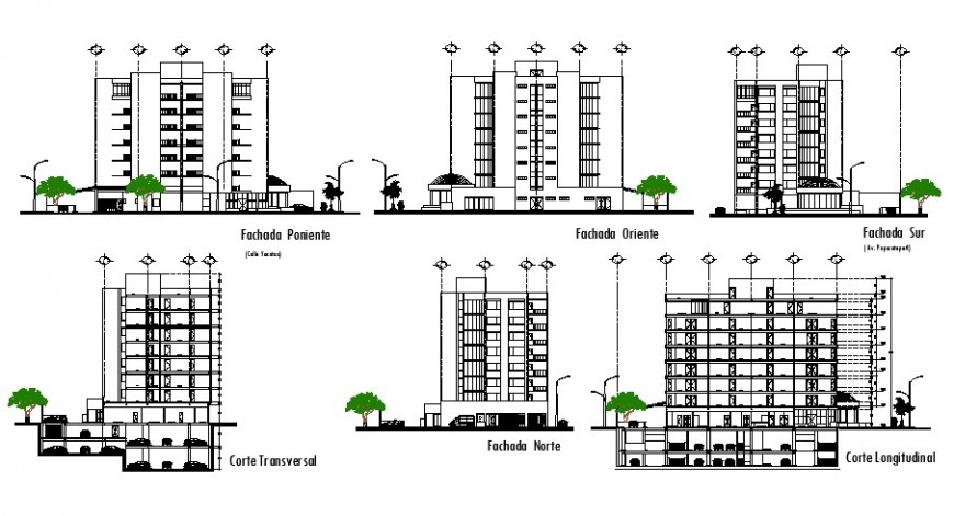 Medical hospital building tower elevations and section cad drawing details dwg file