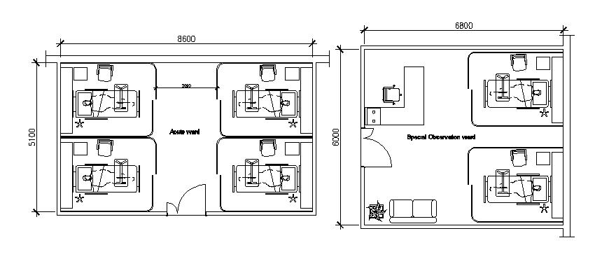Medical hospital observation ward layout plan details dwg file