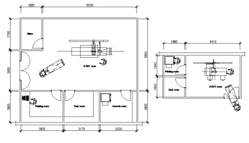 Medical hospital x-ray room layout plan details dwg file