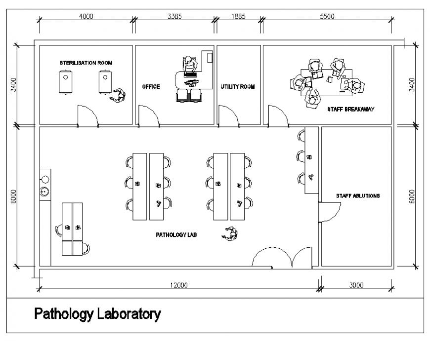 Medical pathology room furniture layout plan details dwg file