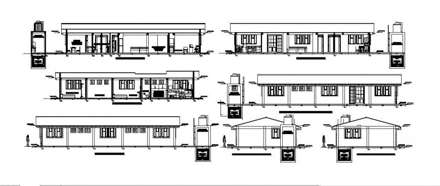 Medical post center building elevations and sections cad drawing details dwg file