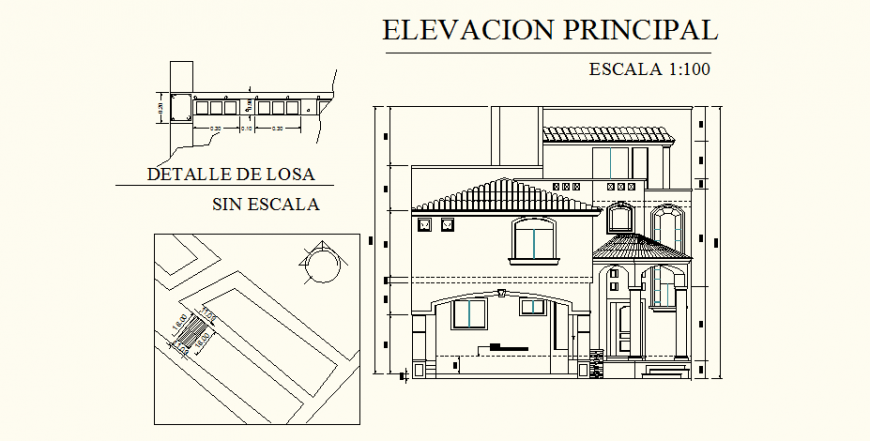 Medieval architecture bungalow elevation drawing in dwg AutoCAD file.
