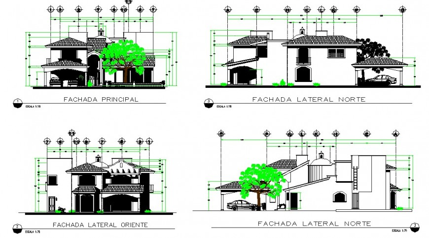 Medieval architecture style bungalow elevation drawing in dwg AutoCAD file.
