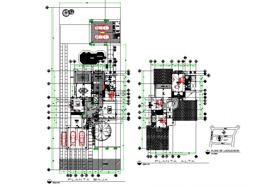 Medieval architecture style bungalow layout plan in dwg AutoCAD file.