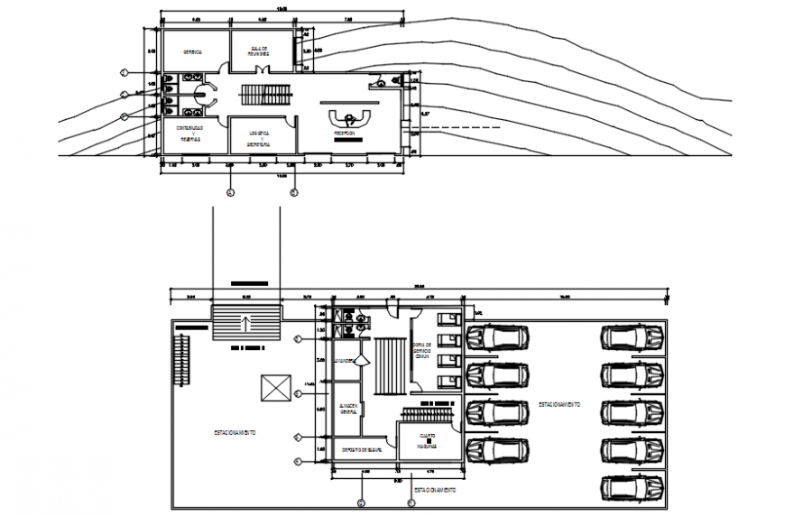 Meditation first floor plan and plan of parking in auto cad software