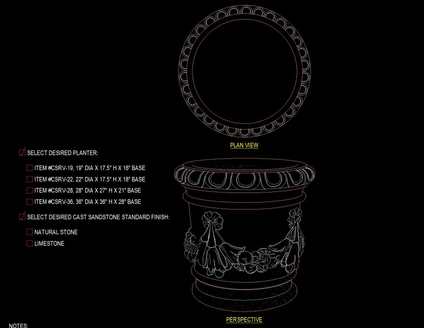 Medium carved planter drawing in dwg file.