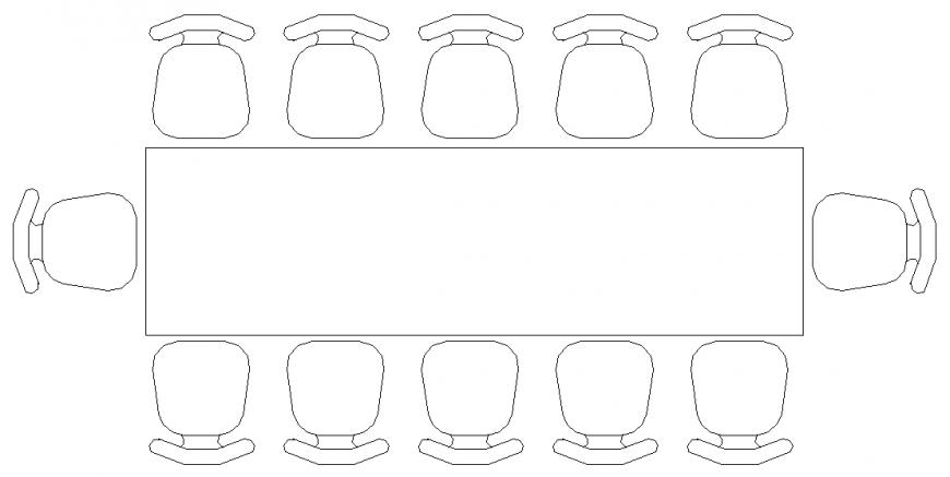 Medium Conference table Cad Blocks autocad file