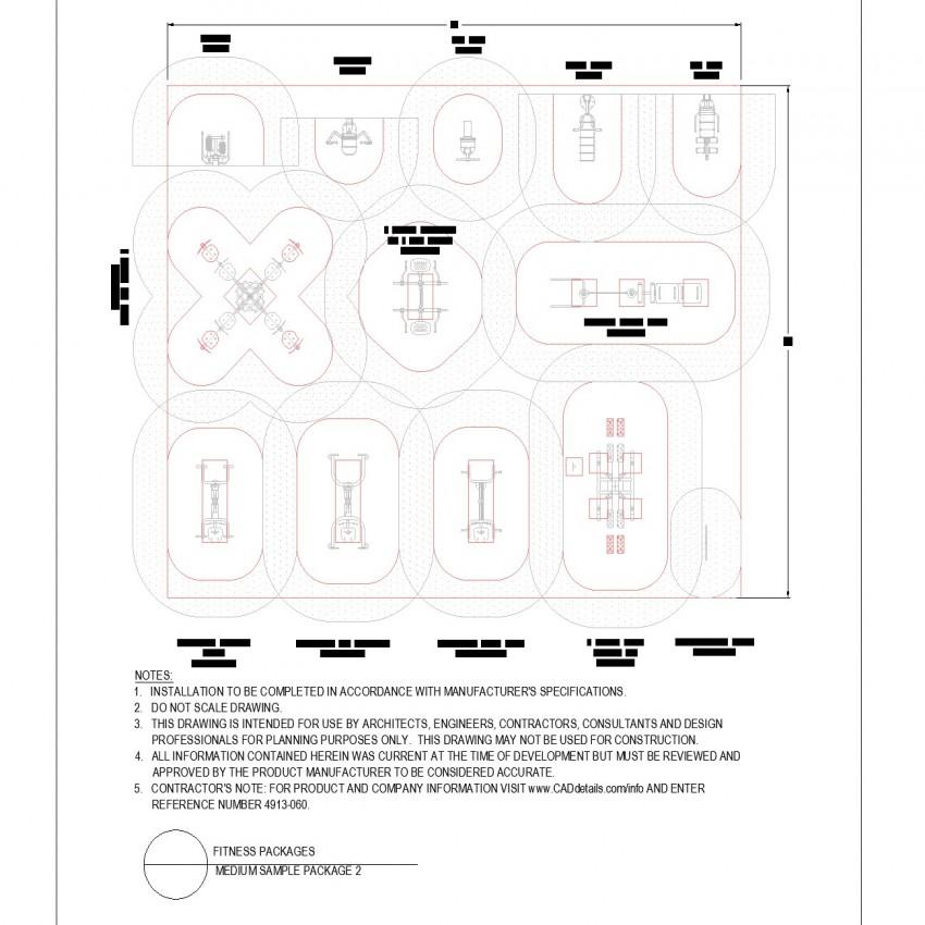 Medium size gym equipment arrangement layout file