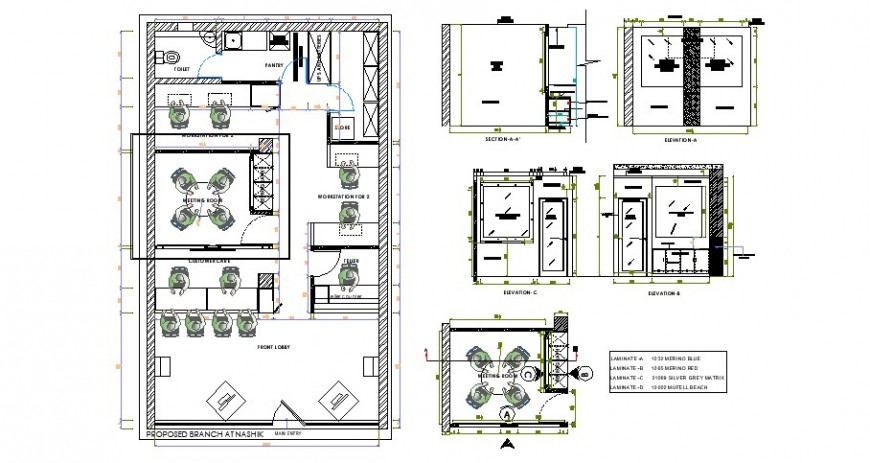 Meeting room of office area plan elevation and section view in auto cad