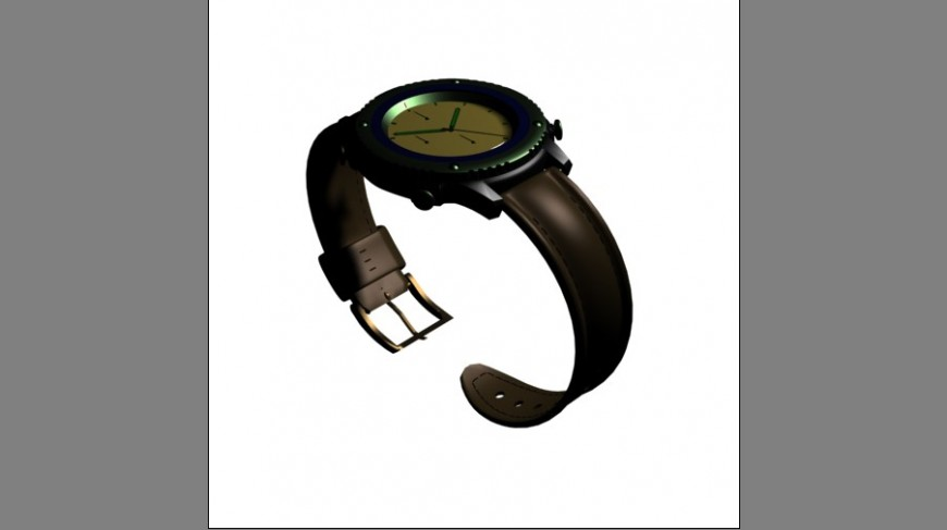 Men's analogue watch 3d model cad drawing details max file