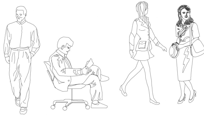 Men and women CAD 2d drawings details of people blocks dwg file