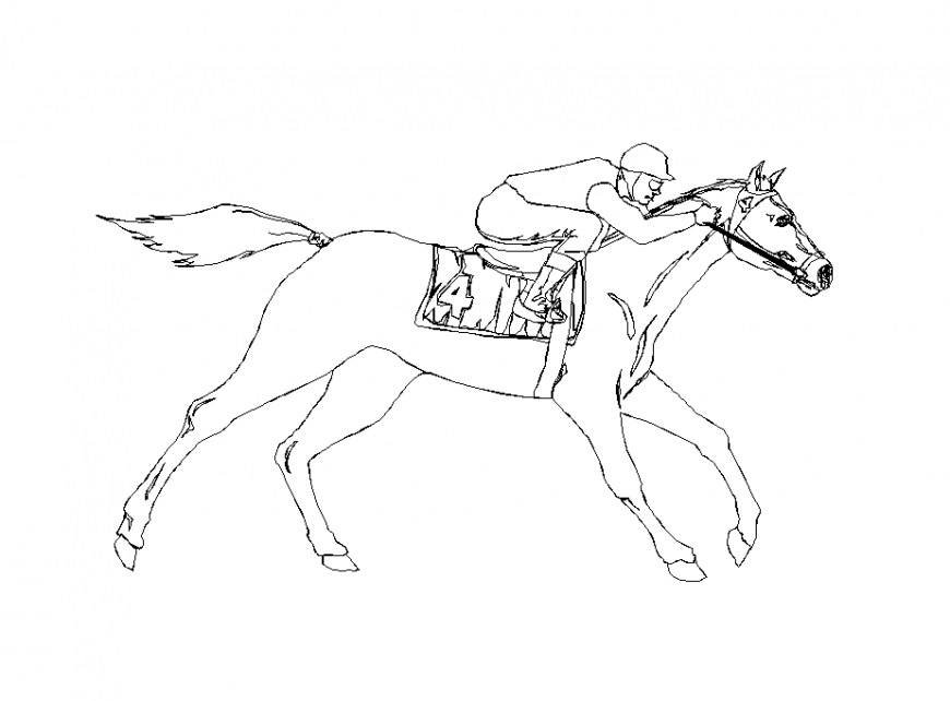 Men block design in riding position on horse dwg file