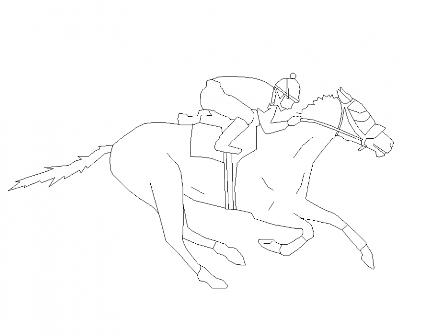 Men block with riding position on horse design dwg file