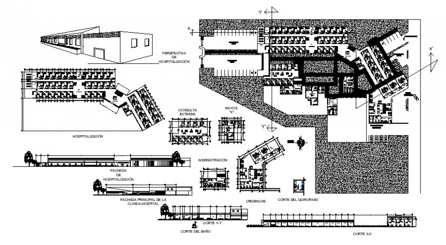 Menguechel hospital elevation, all sided section and floor plan cad drawing details dwg file