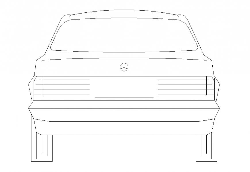 Mercedes luxuries car front elevation cad block details dwg file
