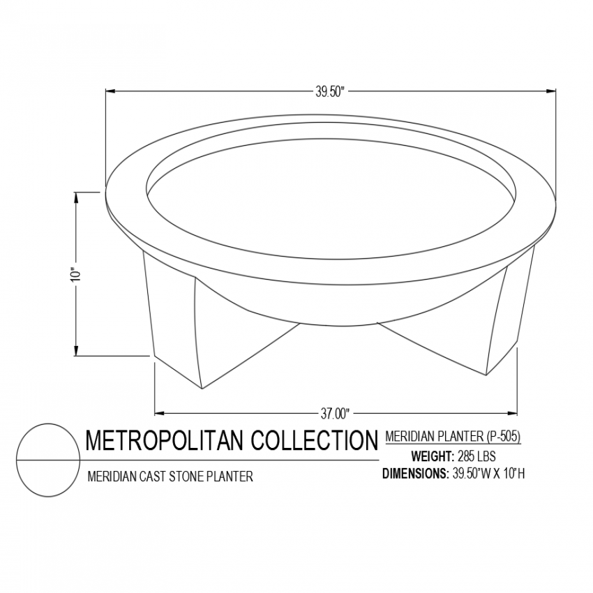 Meridian cast stone planter with design of metropolitan collection dwg file