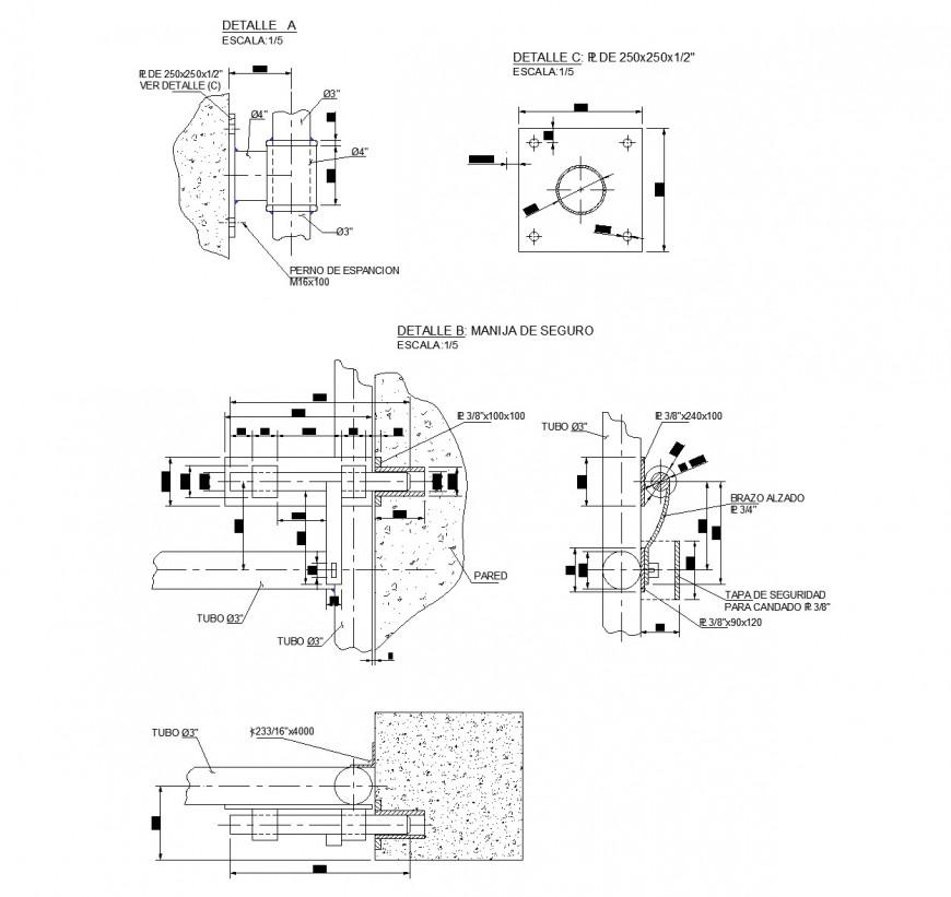 Metal door design section plan autocad file