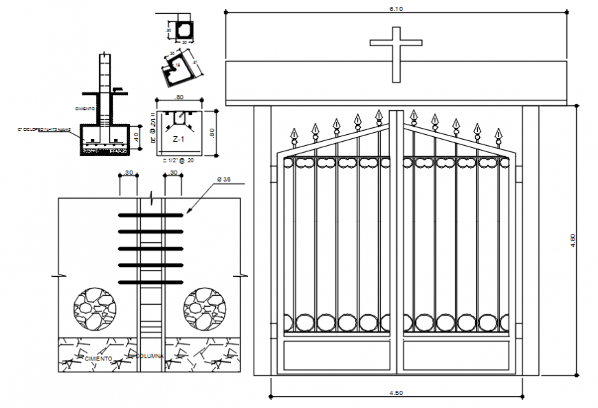 Metallic church gate elevation and installation details dwg file