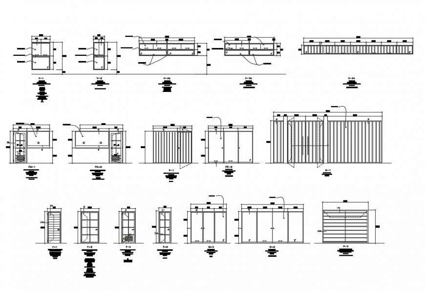 Metallic gate, fence and doors and windows installation details of college building dwg file