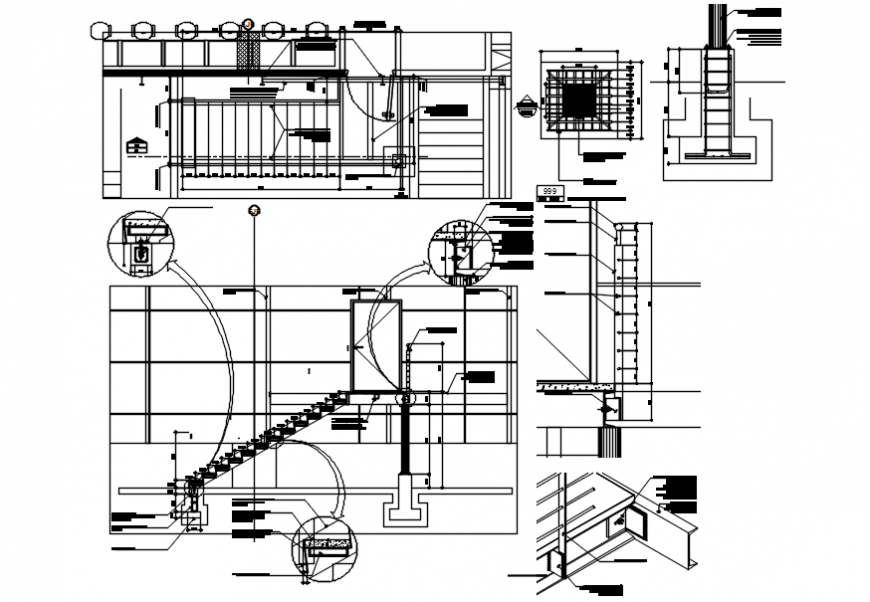 Metallic staircases sections, plan and constructive structure drawing details dwg file