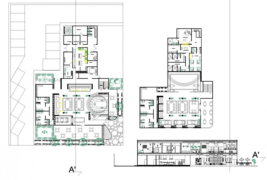 Mexican restaurant design 2 levels plan and section detail dwg file