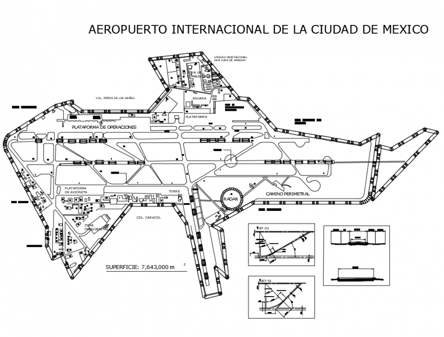 Mexico City International Airport architecture layout plan details dwg file