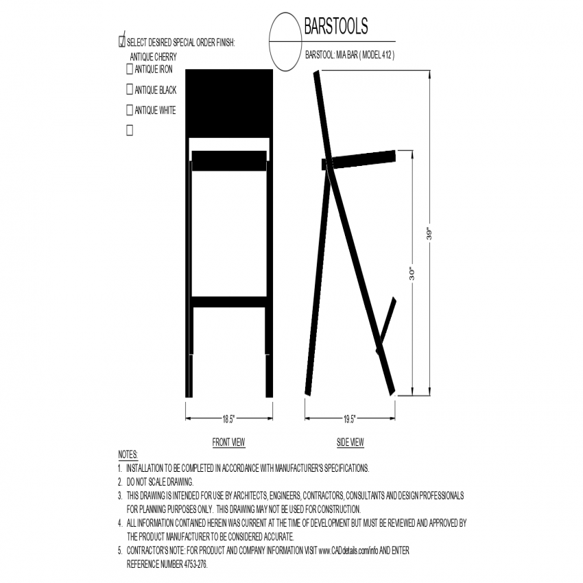 Miabar model of chair design with front and side view dwg file